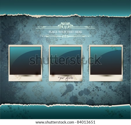 Elegant Vintage empty Photo frame Background.