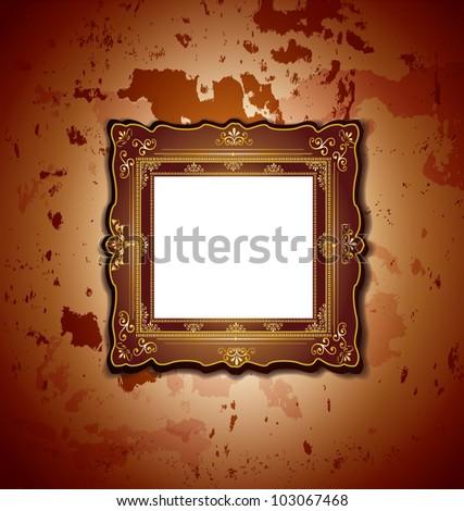 Elegant Vintage Frame Against Grunge Wall