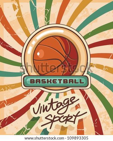 Elegant Vintage frame and border on sport wallpaper. Basketball Advertising poster. Abstract sport background. Vector illustration with Ball for design.