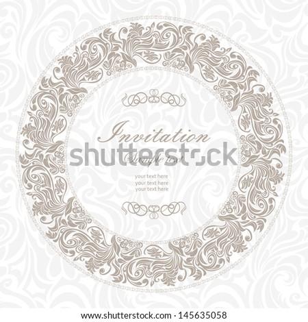 Elegant vintage frame with floral pattern #145635058