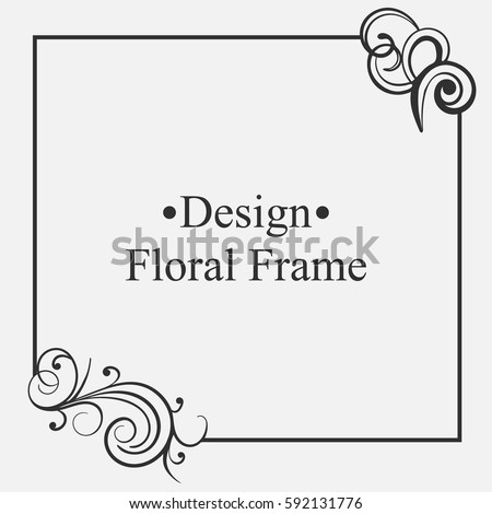 Elegant vintage frame with floral pattern. Template for design