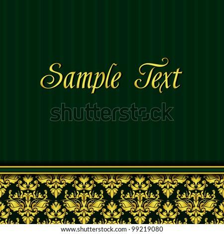 Elegant vintage green and gold background