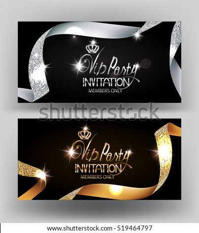 Elegant VIP party invitation cards with textured curled gold and silver ribbons. Vector illustration