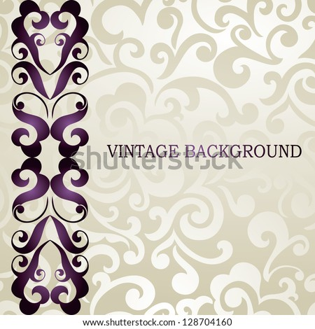Elegant wedding, business, visiting, invitation card. Vintage border, abstract swirls wallpaper