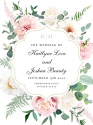 Elegant wedding card with summer flowers. Ivory white peony, dusty pink blush rose, pale dahlia, hydrangea, eucalyptus, greenery. Floral vector design curved frame. Elements are isolated and editable