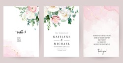 Elegant wedding cards with pink watercolor texture and spring flowers. White peony, pink ranunculus, dusty rose, eucalyptus, greenery. Floral vector design frame.All elements are isolated and editable
