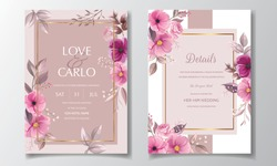 Elegant wedding invitation card template set with beautiful floral and leaves