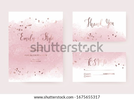 Elegant wedding invitation templates with pink watercolor brush stroke and rose gold stars confetti.