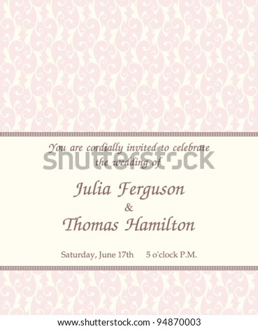 stock vector Elegant wedding invitation with ornate background and vintage