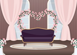 Elegant wedding photozone flat color vector illustration. Elegant couch. Luxurious sofa. Floral arch in heart shape. Romantic photo zone. Event hall 2D cartoon landscape with sea on background