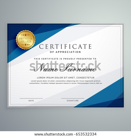 elegant white and blue certificate diploma template