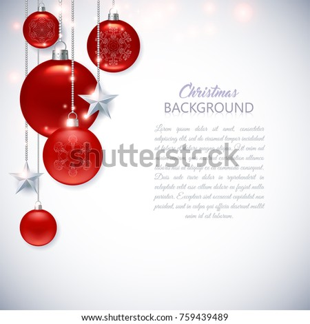 Elegant white Christmas background with frosted and glossy red Christmas balls, stars and sparks. #759439489