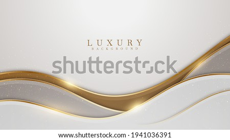 Elegant white overlap brown shade background with line golden elements. Realistic luxury paper cut style 3d modern concept. vector illustration for design.