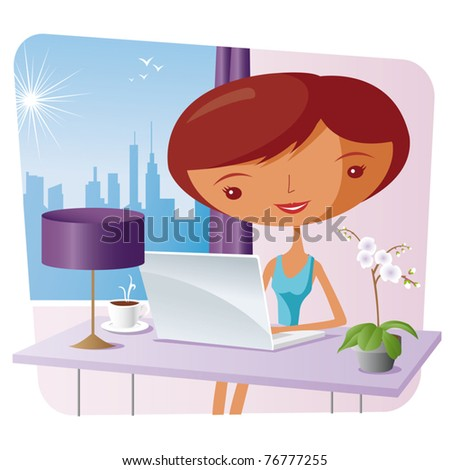 elegant woman at home with a laptop - stock vector