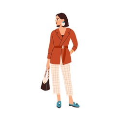 Elegant woman in fashion outfit. Modern female character wearing trendy blazer, checkered ankle-length pants with fringe and stylish accessories. Flat vector illustration isolated on white background.