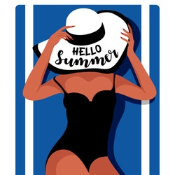 Elegant woman in hat lying on the beach towel. Girl in black swimwear sunbathing on the beach. Hello summer design for background, banner, poster, advertising campaign, cover, party invites. Vector