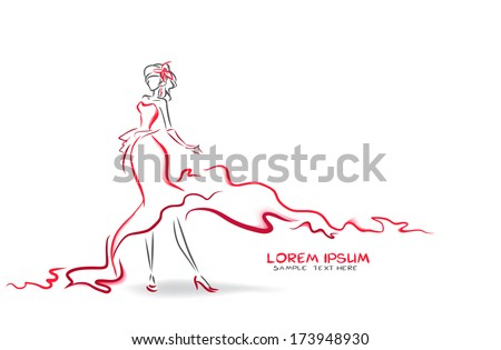 elegant woman in long red dress