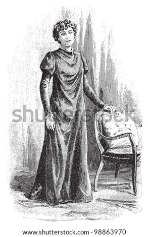 Elegant woman vintage fashion dress / vintage illustration from Die Frau als hausarztin 1911 - stock vector