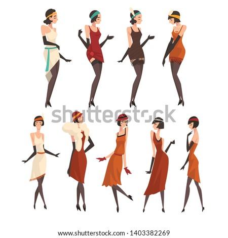 elegant women in retro dresses