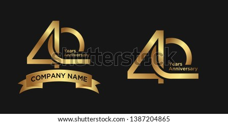 elegant 40 years anniversary logo template with ribbon in gold color, vector file eps 10 text is easy to edit