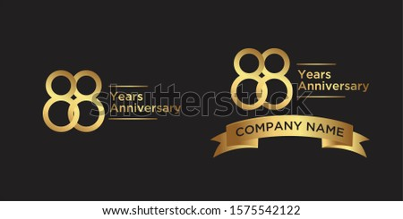 elegant 88 years anniversary logo template with ribbon in gold color, vector file eps 10 text is easy to edit