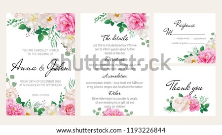 Elegantl floral wedding invitation set with pink and white peonies, roses. This wedding invitation template set includes four templates: invitation card, rsvp card, details and thank you card.