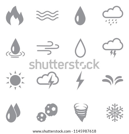 Element Icons. Gray Flat Design. Vector Illustration.