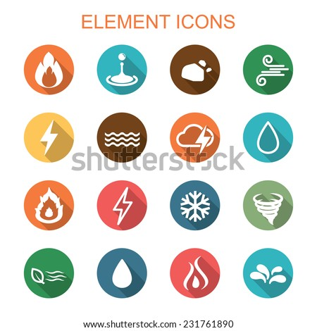 element long shadow icons  flat