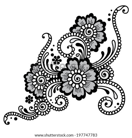 Element of Flower ornament Vector