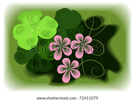 Element with flowers and shamrock clover for congratulations on  Saint Valentine's Day