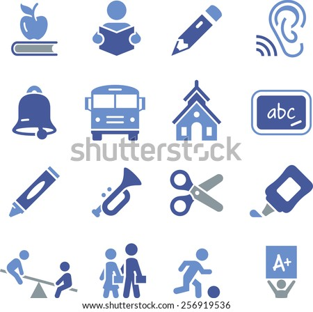 Elementary school and early learning educational icons