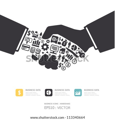 Elements are small icons Finance make in active businessman handshake shape.Vector illustration. concept