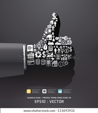 Elements are small icons Finance make in fingers shape good/ ok .Vector illustration.black color