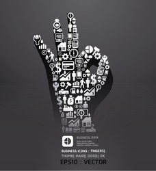 Elements are small icons Finance make in fingers shape ok .Vector illustration.black color