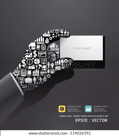 Elements are small icons Finance make in hand hold business card shape .Vector illustration. - stock vector