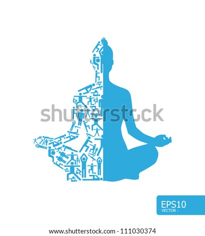 Elements are small icons sports make in active girl doing yoga shape.Vector illustration. concept