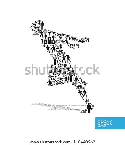Elements are small icons sports make in active running man shape.Vector illustration. concept