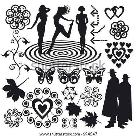 Elements for design (silhouette, arrow,  flower, butterfly...)