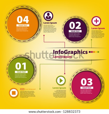 Elements for infographics with colored circles