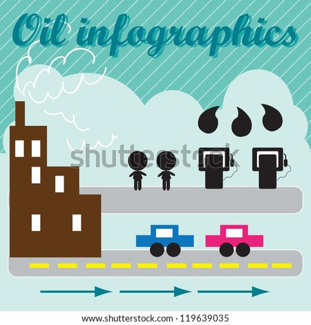 Elements for Oil infographics with strapes background , vector illustration.