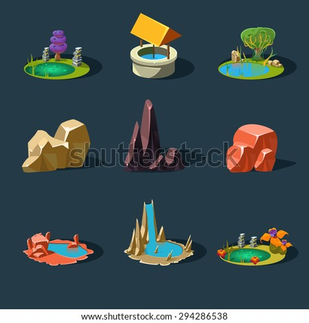 Elements landscape vector illustration for games