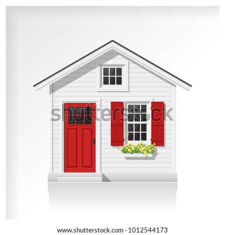 Elements of architecture with a small house icon isolated on white background , vector ,illustration