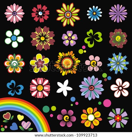 Elements of design (flowers) - stock vector