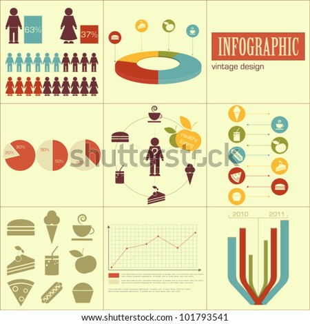 Elements of infographics for presentations - fast food and healthy eating - vector illustration