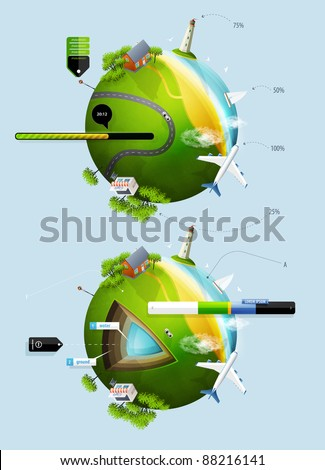 elements of infographics with the ball planet earth