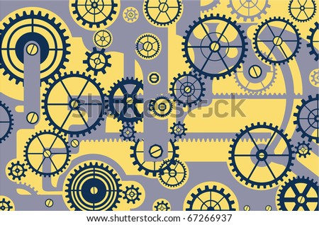 Elements of mechanism on a yellow background