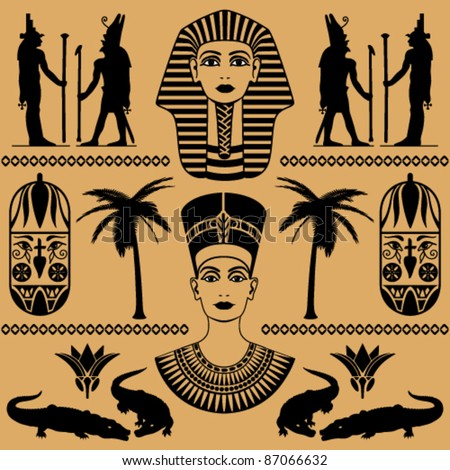 elements of the Egyptian decorative patterns, heads of Nefertiti and masks of pharaoh on a beige background