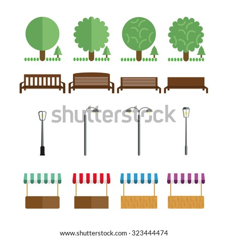 elements of the park  benches
