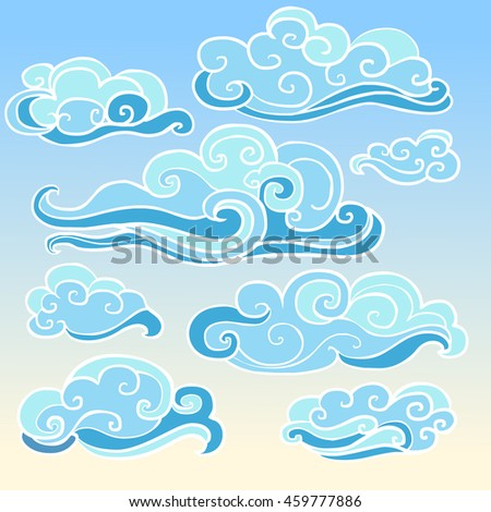 Elements of traditional oriental cloudy ornament in blue shades. Vector collection