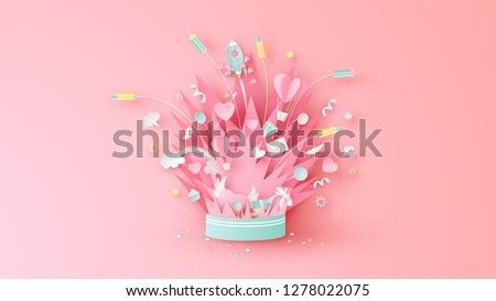 Elements of Valentine's Day float up from firework box. Graphic design for Valentine's festival. Greeting card for celebration on Valentine's day. paper cut and craft style. vector, illustration.